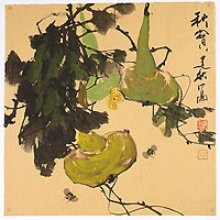 Jianqiu ZHANG born 1936 - Gourds and Bees