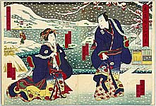 Shigehiro Shugansai active 1865-1878 - Lovers in the Snow - Kabuki