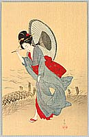 Soken Yamaguchi 1759-1818 - Bijin in the Rain