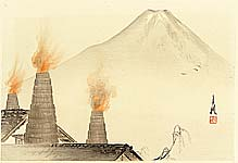Gekko Ogata 1859-1920 - Chimneys -  One Hundred Views of Mt. Fuji
