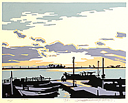 Saburo Miyata born 1924 - April - Evening at the Harbor