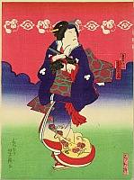 Yoshitaki Utagawa 1841-1899 - Going under Red Sky - Kabuki