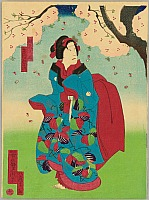 Yoshitaki Utagawa 1841-1899 - Girl under Cherry Tree - Kabuki