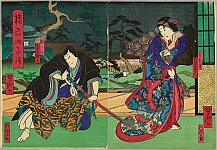 Yoshitaki Utagawa 1841-1899 - Haunt and Haunted  - Kabuki