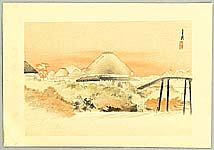 Gekko Ogata 1859-1920 - Behind Roofs - One Hundred Views of Mt. Fuji