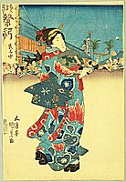 By Kunisada Utagawa - Beauty with Fan