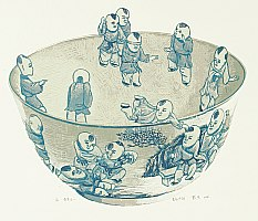 Dai Jia born in 1985 - Chinese Blue Bowl with Hundred Children 1