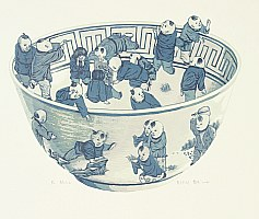 Dai Jia born in 1985 - Chinese Blue Bowl with Hundred Children 3