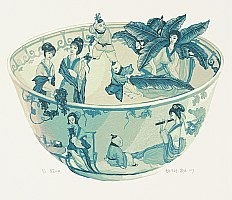 Dai Jia born in 1985 - Chinese Blue Bowl with Hundred Children 4