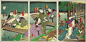 Chikanobu Toyohara 1838-1912 - Cormorant Fisher and Attacking Wolves - Kabuki