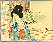 Toshikata Mizuno 1866-1908 - Beauty and Cat on Balcony