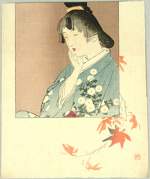 Hanko Kajita 1870-1917 - Girl and Maple Leaves
