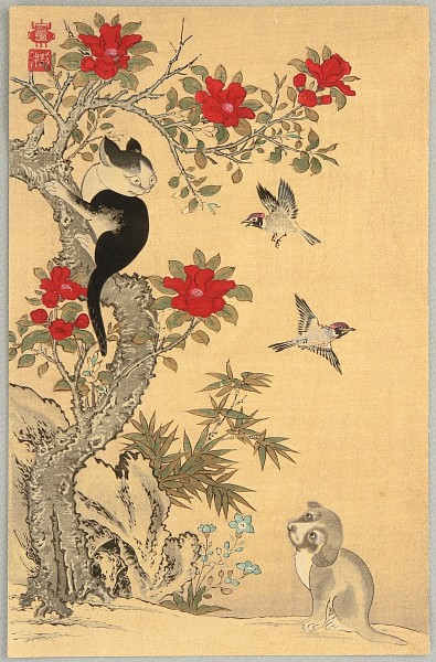 Jakuchu Ito 1715-1800 - Birds, Cat and Dog