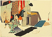 Eisen Tomioka 1864-1905 - Airing Clothes