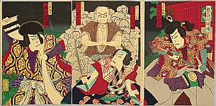 Hosai Baido 1848-1920 - Rat Magic and Three Heroes - Kabuki