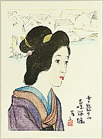 Yumeji Takehisa 1884-1934 - Beauty at Moat