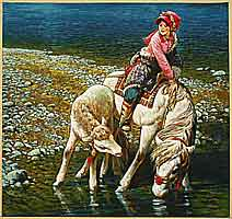 Yang Dehua 1940-2002 - Water Horses at Highland Lake