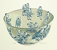 Dai Jia born 1985 - Chinese Blue Bowl with Hundred Children 1