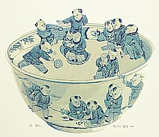 Dai Jia born 1985 - Chinese Blue Bowl with Hundred Children 2
