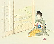 Hanko Kajita 1870-1917 - Knitting in a Room