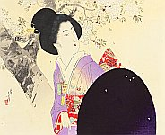 Toshikata Mizuno 1866-1908 - Beauty and Cherry Blossoms