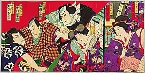 Chikashige Morikawa active ca. 1869-82 - Two Courtesans,  Two Sumo Wrestler - Kabuki