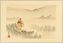 Gekko Ogata 1859-1920 - Fisherman -  One Hundred Fuji