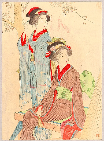 Chikuha Odake 1878-1936 - Beauties and Cherry Blossoms