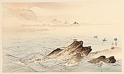 Seiho Takeuchi 1864-1942 - Sea Birds over Rocky Shore - Twelve Mt. Fuji