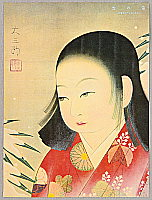 Seien Shima 1892-1970 - Girl and Snow Covered Bamboo