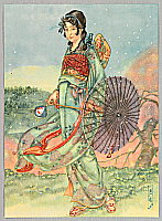 Hikozo Ito 1904 - 2004 - Parasol and Flower Shower