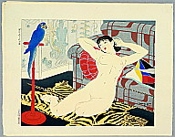 Toraji Ishikawa 1875-1964 - Blue Parrot - Ten Types of Female Nudes
