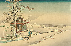 Hiroshige IV  fl.ca. 1920-30s - Snowman, Boy and Puppies