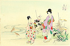 Chikanobu Toyohara 1838-1912 - At the Stream - Twelve Months