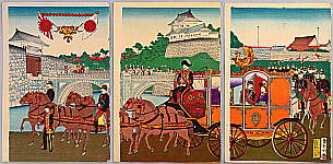 Suiken Chikumu fl. ca. 1889 - Emperor and Empress at Niju-bashi Bridge