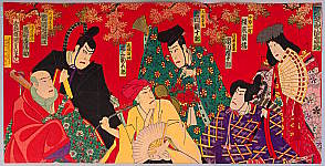 Hosai Baido 1848-1920 - Kabuki under Maple Leaves