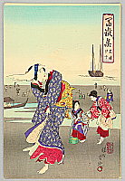 Chikanobu Toyohara 1838-1912 - Clam Hunting - Collection of Mt. Fuji