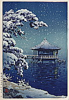 Koitsu Tsuchiya 1870-1949 - Snow at ukimido, Katada