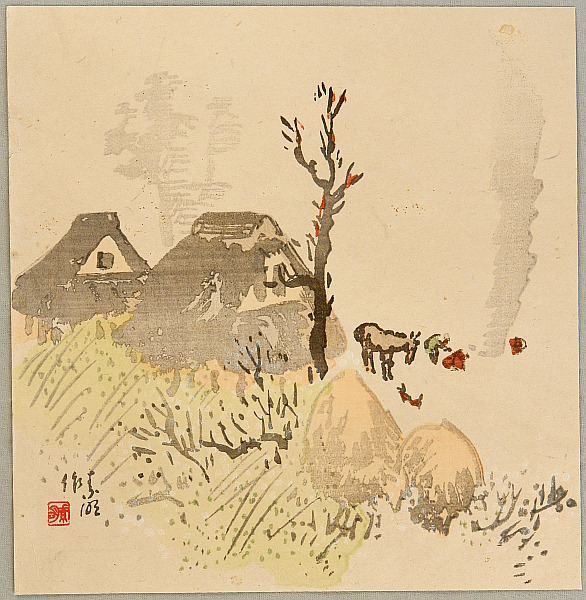 Somei Yuki 1875-1957 - Village in Autumn