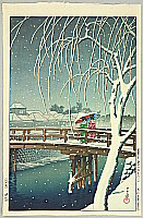 Evening Snow at Edo River - Kawase Hasui - 1883-1957
