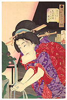 Yoshitoshi Taiso 1839-1892 - Chilly - Thirty-two Aspects of Customs and Manners of Women