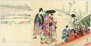 Chikanobu Toyohara 1838-1912 - Falcon - Court Ladies in Chiyoda Palace