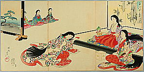 Chikanobu Toyohara 1838-1912 - Ceremonial Drink - Ladies of Chiyoda Palace.