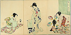 Chikanobu Toyohara 1838-1912 - After Bath - Ladies of Chiyoda Palace.