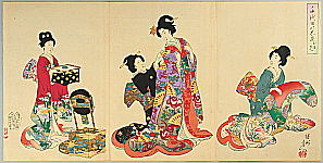 Chikanobu Toyohara 1838-1912 - Dressing Up - Ladies at Chiyoda Palace