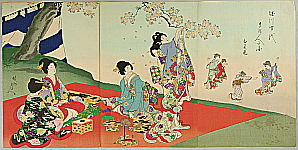 Chikanobu Toyohara 1838-1912 - Cherry Blossoms Viewing - Court Ladies in Tokugawa Era