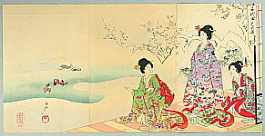 Chikanobu Toyohara 1838-1912 - Ducks in Winter - The Ladies of Chiyoda Palace