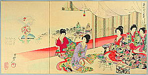 Chikanobu Toyohara 1838-1912 - Festival Float - The Ladies of Chiyoda Palace
