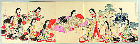 Chikanobu Toyohara 1838-1912 - Ceremonial Meal - The Ladies of Chiyoda Palace