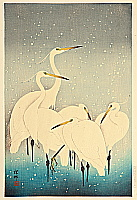 Egrets on a Snowy Night - By Ohara Koson